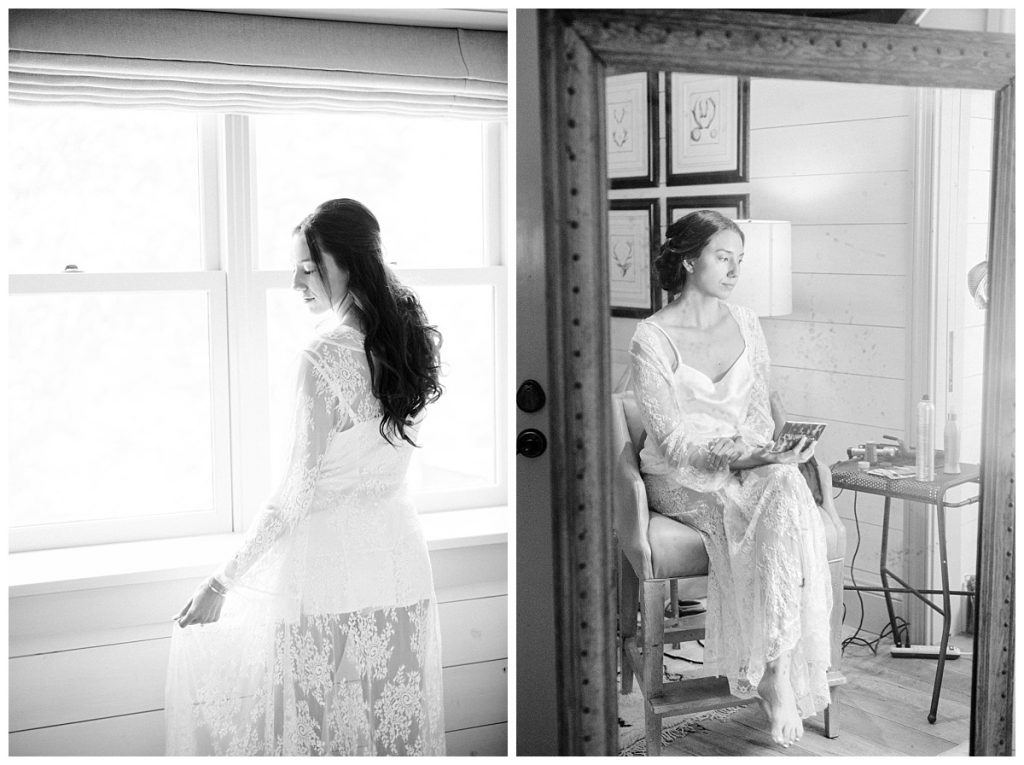 black and white of bride getting ready for wedding day