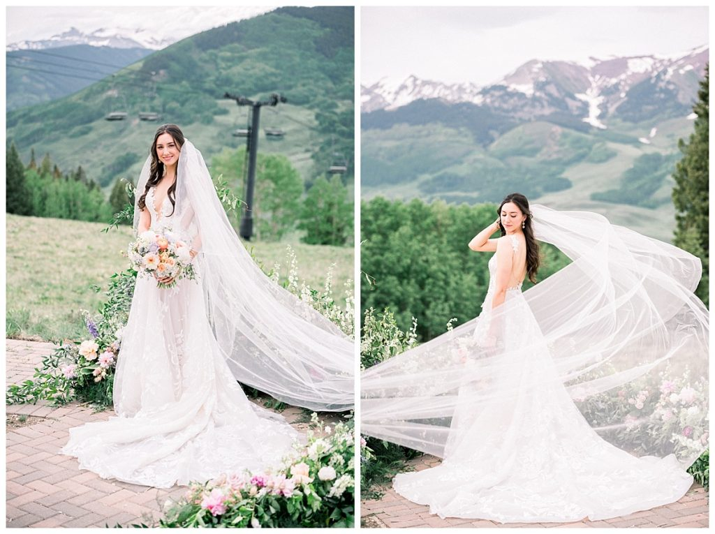 bride wearing long veil holding bouquet in Crested Butte