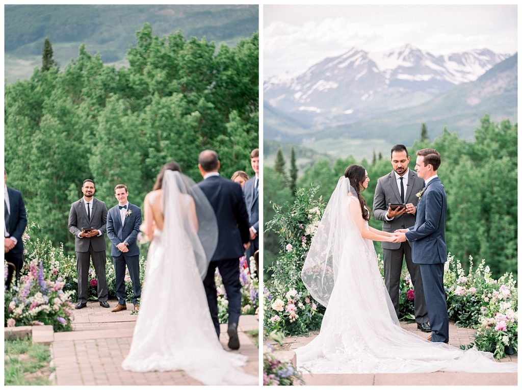 ceremony site and first look during wedding in crested butte colorado
